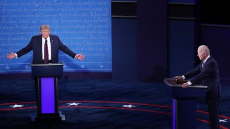 Тръмп и Байдън по време на първия дебат на 29 септември