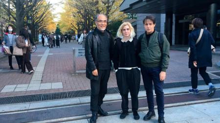 Проф. Кобаяши с Ани Васева и Боян Манчев в Токио.