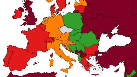 Карта на чешкото здравно министерство с цветови зони за риск от Covid-19 на държави в Европа.