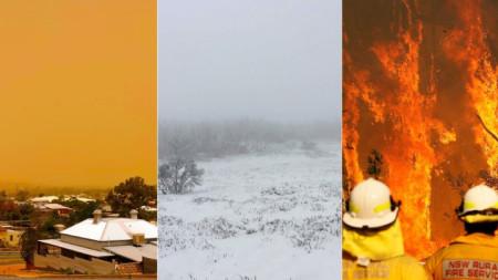 Комбинирана снимка на пясъчна буря в Броукън хил,, Снежните планини край Канкобан и горски пожари край Нюкясъл, Източна Австралия.