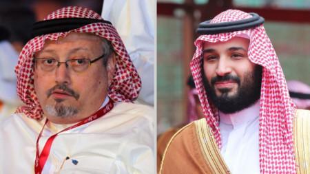 Престолонаследникът принц Мохамед бин Салман (вдясно) и журналистът Джамал Хашоги