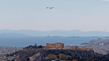 Изглед към Акропола в Атина, Гърция, 22 април 2021 г.