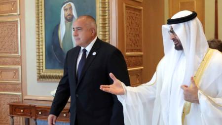 Престолонаследникът на Абу Даби шейх Мохамед бин Зайед Ал Нахаян и премиерът Бойко Борисов преди разговорите им.