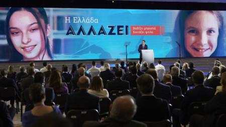 Премиерът Кириакос Мицотакис говори на откриването снощи на Международния панаир в Солун.