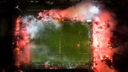 Атмодферата на солунското дерби между отборите на ПАОК и