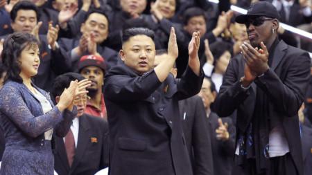 Ким Чен-ун и Денис Родман