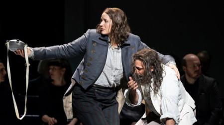 Лиз Давидсен (Фиделио) и Йонас Кауфман (Флорестан) на сцената на Ковънт гардън