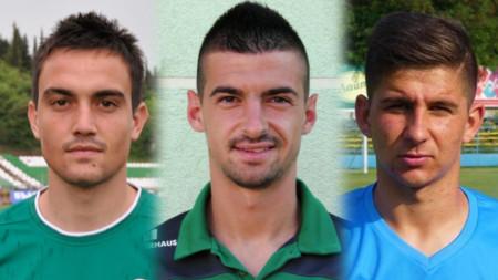 Енчев, Мечев и Алиев (от ляво-на дясно) са вече играчи на Берое.