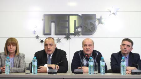 Йорданка Фандъкова, Бойко Борисов, Георги Марков, Данаил Кирилов по време на пресконференцията в централата на ГЕРБ