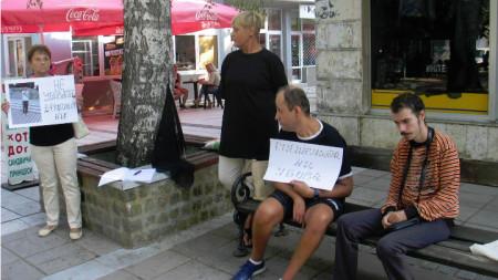 Марияна (в средата) с останалите протестиращи във Видин.