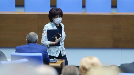 Председателят на парламента Цвета Караянчева на днешното заседание, но което се обсъжда искането тя да бъде отстранена от поста