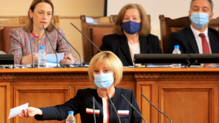 Мая Манолова прави изказване  по враме на заседанието на Народното събрание -  16 април 2021 г.