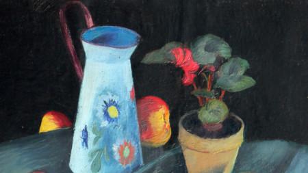 Васил Бараков (1902 – 1991), Натюрморт със саксия (1938),  фрагмент