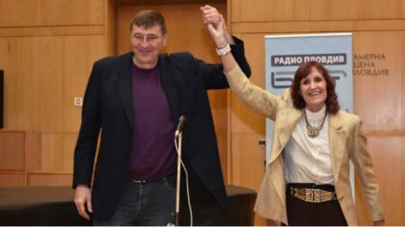 Пенка Стоянова с Георги Глушков при представянето на нейната биография през 2019 г.