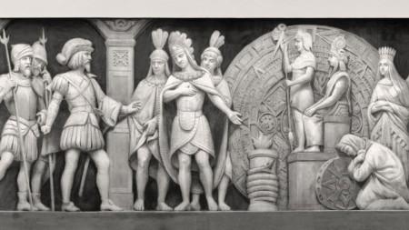 Испанецът Ернан Кортес влиза в храма на ацтеките
