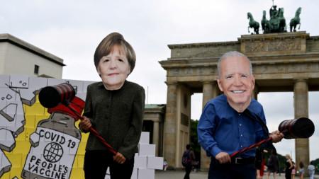 Протест в Берлин преди визитата на Меркел във Вашингтон, 14 юли 2021 г.