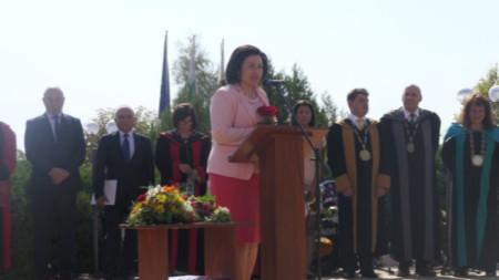 Министър Десислава Танева на тържественото откриването на новата академична година на Тракийския университет.