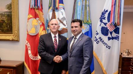 Министър-председателят на Македония Зоран Заев се срещна във Вашингтон с вицепрезидента на Съединените американски щати Майкъл Пенс.