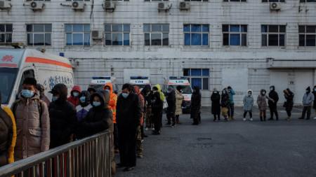 Опашка за тестове пред болница в Пекин, 8 януари 2021 г.