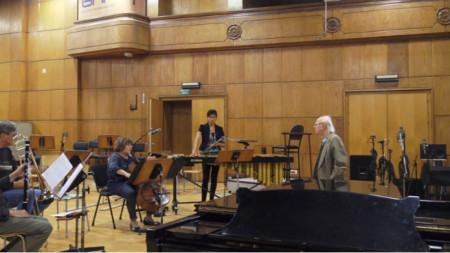 Васил Казанджиев в Първо студио на БНР по време на Концерта с камерна музика на 14 октомври 2019 г. в чест на неговата 85-годишнина