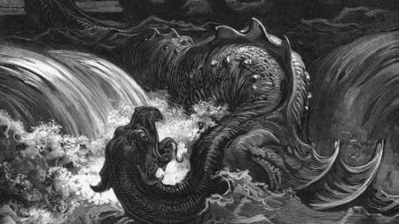 Убиването на Левиатан, Гравюра от Густав Доре, 1865 г.