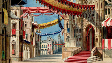 """Катедралният площад в Мариенбург, 1 действие на """"Литовците"""" от Амилкаре Понкиели, 1874 г."""