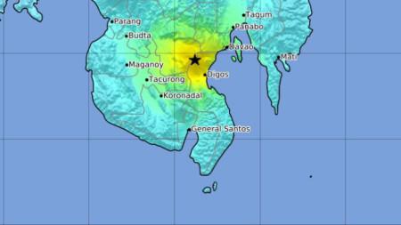 Карта на остров Минданао, показваща епицентъра на труса близо до град Давао.
