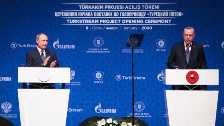 Путин и Ердоган разговаряха днес в Истанбул.
