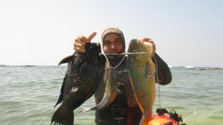 Валентин Василев в най-любимото си амплоа – на подводен риболовец.