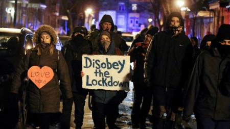 Протест срещу строгите Covid мерки в Монреал, 27 януари 2021 г.