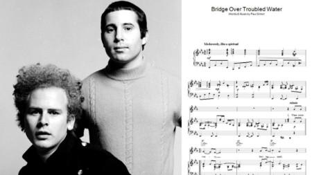 Саймън и Гарфанкъл и първата страница от музиката на Bridge Over Troubled Water (Мост над развълнувана вода)