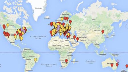 Карта на българските училища в чужбина