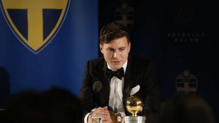 Виктор Линдельоф по време на речта си.