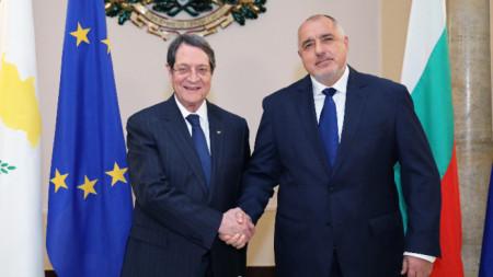 Бойко Борисов с кипърския президент Никос Анастасиадис.