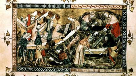 Begräbnis von Opfern der Beulenpest in Tournai, Belgien. Miniatur aus den Chroniken des Abtes Gilles Li Muisis (1272–1352)