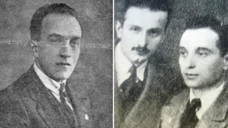 """Mühendis Georgi M. Georgiev. Mehmed Refik (solda) ve""""Vatan radyosu""""Birliği Başkanı mühendis Marin Marinov."""