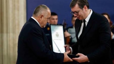 Премиерът Бойко Борисов получава най-високия орден на Сърбия от президента Александър Вучич.
