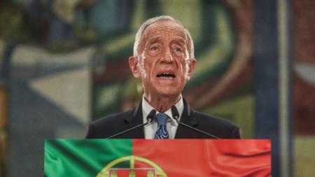 Марселу Ребелу де Соуза държи реч, след като бе преизбран за президент на Португалия.
