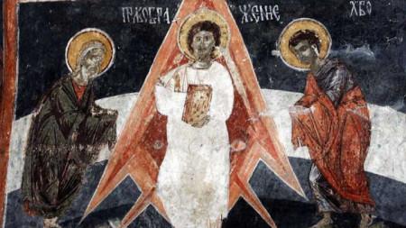 """Стенопис в църквата """"Св. св. Теодор Тирон и Теодор Стратилат"""" в село Добърско."""