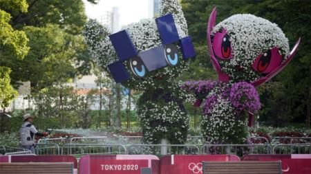 Олимпийските талисмани Мирайтоуа и Сомейти, оформени от растения