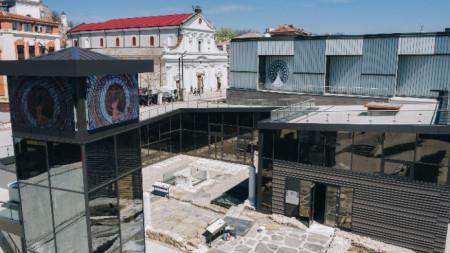 Изглед към музейния комплекс на Епископската базилика на Филипопол в центъра на Пловдив.