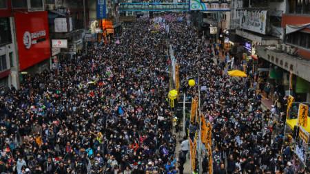 Протестен марш в Хонконг през първия ден от новата 2020 година