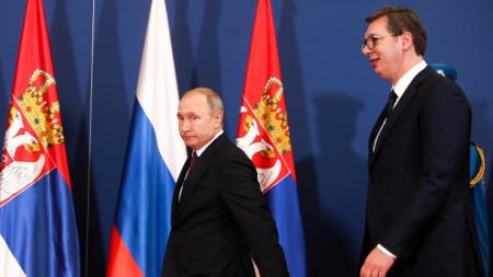 Президентите на Русия Владимир Путин (вляво) и на Сърбия Александър Вучич