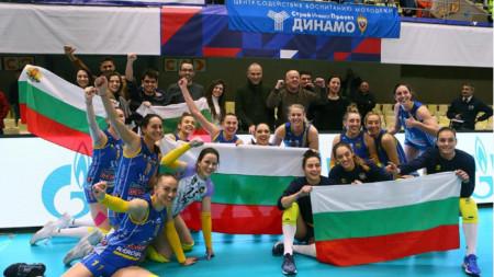 Волейболистките на Марица след победата в Москва.