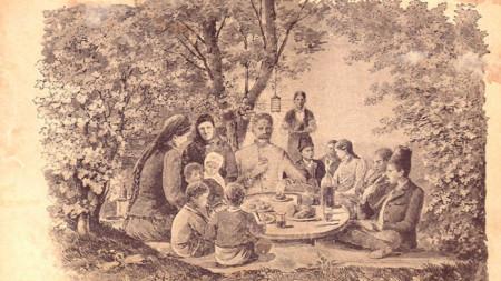 Началото на Първата част от романа. Представени са чорбаджи Марко и семейството му в обичайна битова сцена – вечерят заедно на двора. Художник: Йозеф Обербауер. Прототип на чорбаджи Марко е бащата на автора – Минчо Вазов
