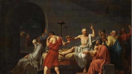 """""""Смъртта на Сократ"""", картина на Жак-Луи Давид от 1787 г."""