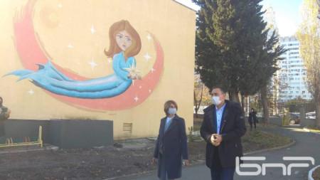 Кметът Димитър Николов и директорката на ДГ