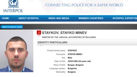 Кадър от сайта на Интерпол с данни за Стайко Стайков, който беше издирван с червена бюлетина
