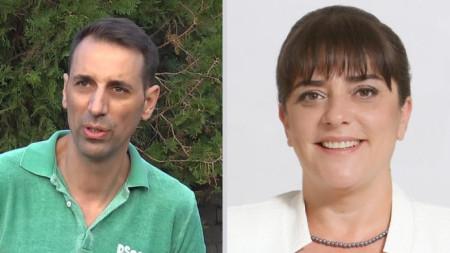 """На балотаж за кмет на Ямбол бяха кандидатът на """"Пряка демокрация"""" (вляво) Валентин Ревански и Катя Георгиева – БСП."""