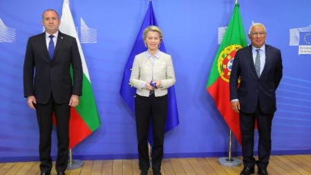 Румен Радев се срещна с председателя на ЕК Урсула фон дер Лайен и с премиера на Португалия Антониу Коща.